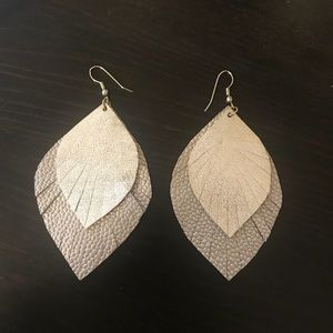 Handmade leather leaf earrings